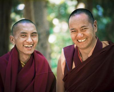 Lama Zopa Rinpoche and Lama Yeshe, Lake Arrowhead, 1975. Photo: Carol Royce-Wilder.