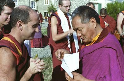 Lama Yeshe with (l to r) Steve Carlier, Nick Ribush and Francesco Prevosti, at Istituto Lama Tzong Khapa, Italy, 1983. Photo: Merry Colony.