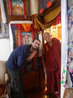 Tenzin Ösel Hita with Lama Zopa Rinpoche at Kopan Monastery, Nepal, February 2016. Photo: Holly Ansett.