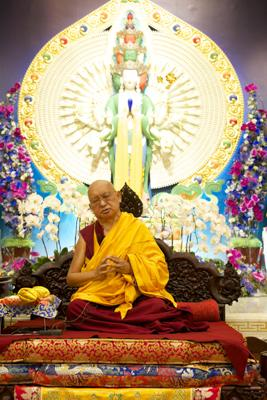Lama Zopa Rinpoche at Amitabha Buddhist Centre, Singapore, 2016. Photo: Bill Kane.