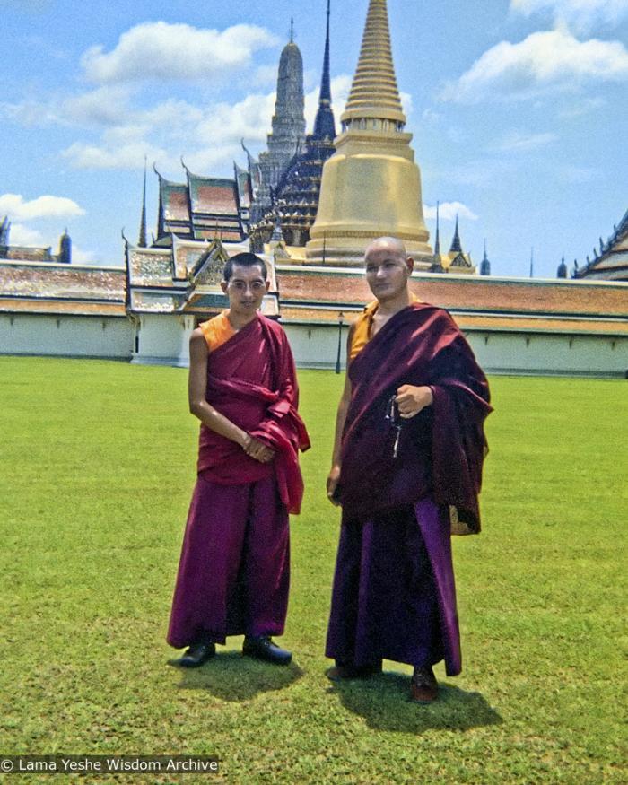 Lama Zopa Rinpoche and Lama Yeshe visit the Jade Buddha Temple, Bangkok, 1974.