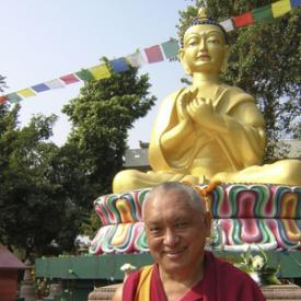 Lama Zopa Rinpoche at Root Institute, Bodhgaya, 2000. Photo: Brian Halterman.