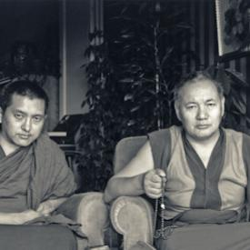 Lama Zopa Rinpoche and Lama Yeshe in Geneva, Switzerland, 1983. Photo: Ueli Minder.