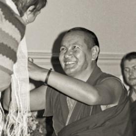 Lama Yeshe teaching at Manjushri Institute, England, 1976.