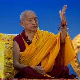 Lama Zopa Rinpoche at Rinchen Jangsem Ling, Triang, Malaysia, April 2016. Photo: Bill Kane.
