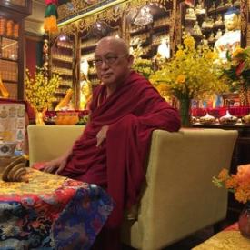 Lama Zopa Rinpoche on the day of his arrival at Cham Tse Ling gompa, Hong Kong, April 2016. Photo: Roger Kunsang.