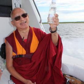 Lama Zopa Rinpoche traveling out to the open Atlantic Ocean to bless it and the animals in it, USA, August 2016.