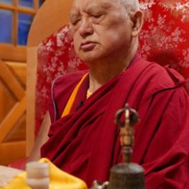 Rinpoche during a puja at Buddha Amitabha Pure Land, USA, September 2016. Photo: Roger Kunsang.