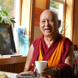 Lama Zopa Rinpoche in a coffee shop in Tonasket, USA, September 2016. Photo: Lobsang Sherab.