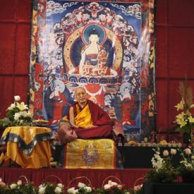 Lama Zopa Rinpoche teaching in Singapore, 2010. Photo: Ven. Thubten Kunsang (Henri Lopez).